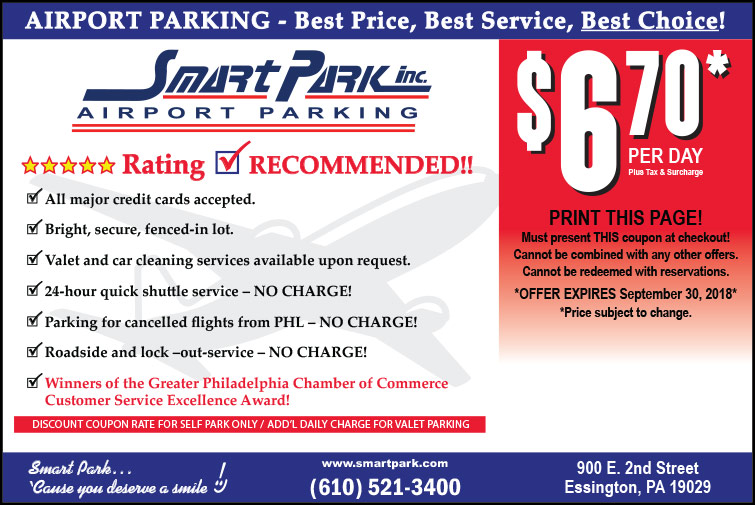 Special Rate 10% off Regular Parking Rates. Show this coupon to save 10% off regular parking rates at Colonial Airport Parking for the Philadelphia International Airport (PHL).