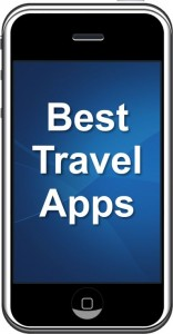 "Smart Phone with screen showing ""Best Travel Apps"""
