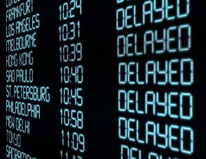 Flight Board in Airport showing Flight Delays