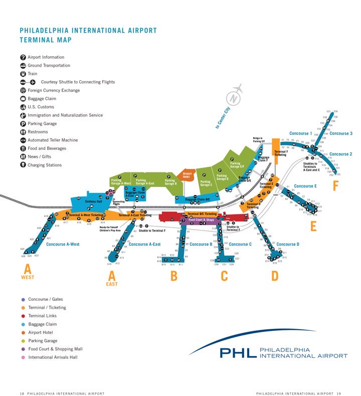 phl terminal map philadelphia international airport